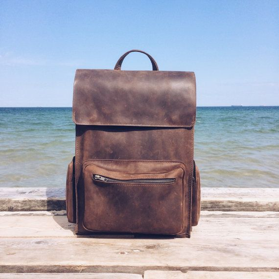 Handmade BROWN LEATHER Backpack / Rucksack on Snap by Made4Friends
