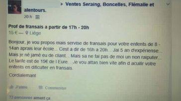 À déchiffrer : prof de français propose services