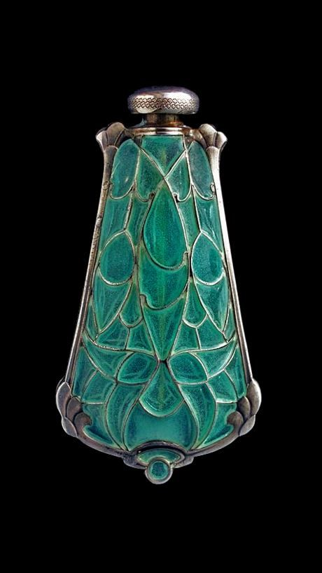 Art Nouveau silver and plique-à-jour enamel perfume bottle/pendant, France, ca.1900.