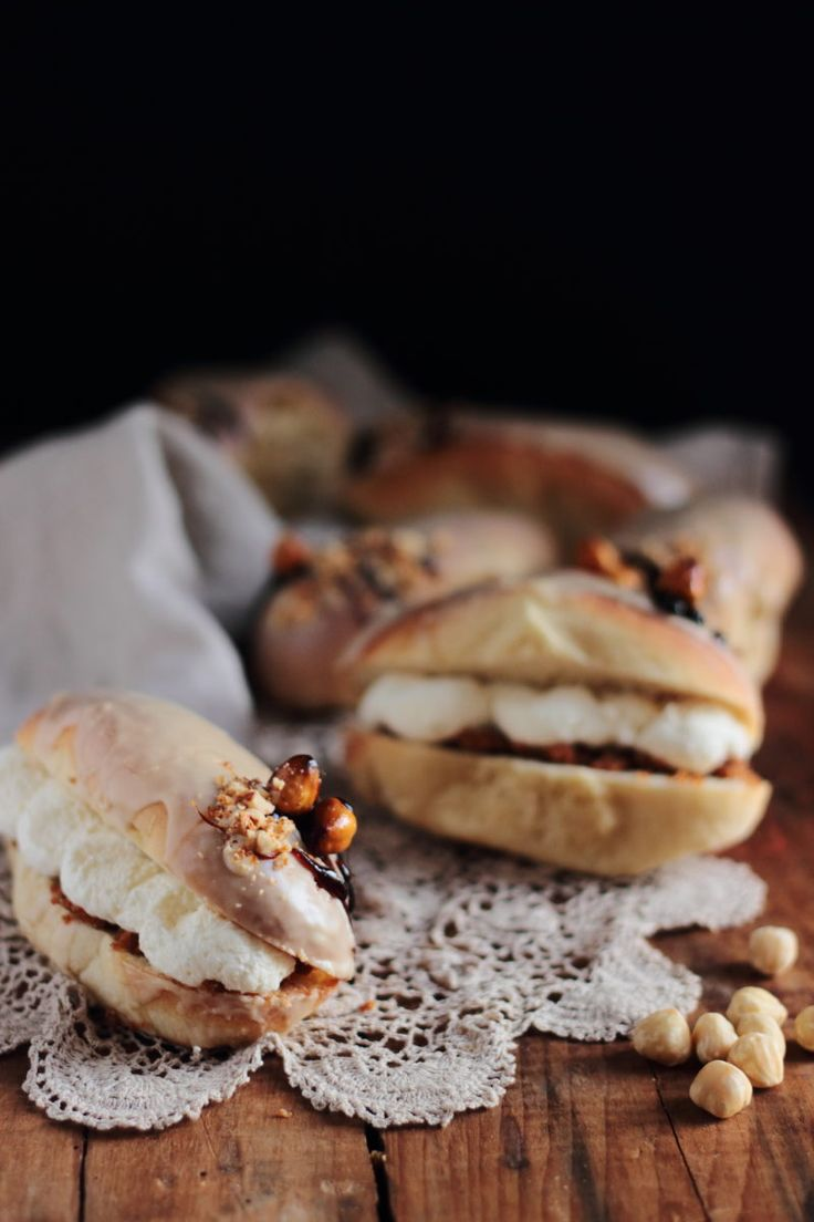 Coffee iced buns with hazelnut praline filling