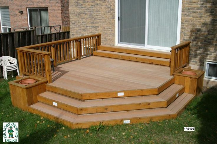 deck planter & benches | deck plan is for a medium size, low, single level deck with planters ...