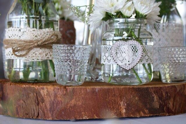 Jam jar flower and candle bowls