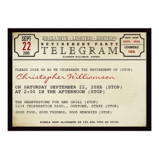 Telegram Style Retirement Party Invitation - the perfect theme for anyone retiring from postal/communications position!
