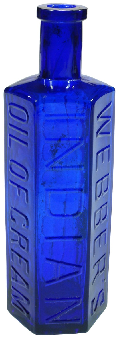 Hexagonal cobalt blue glass Webber's Indian Oil of Cream (From Launceston, Tasmania). c1890s
