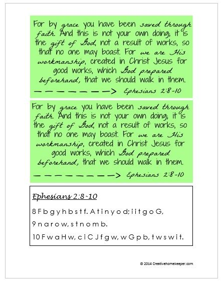 May's Bible to Brain to Heart Memory verse challenge is Ephesians 2:8-10. Download your FREE verse cards and a first letter memory aid!