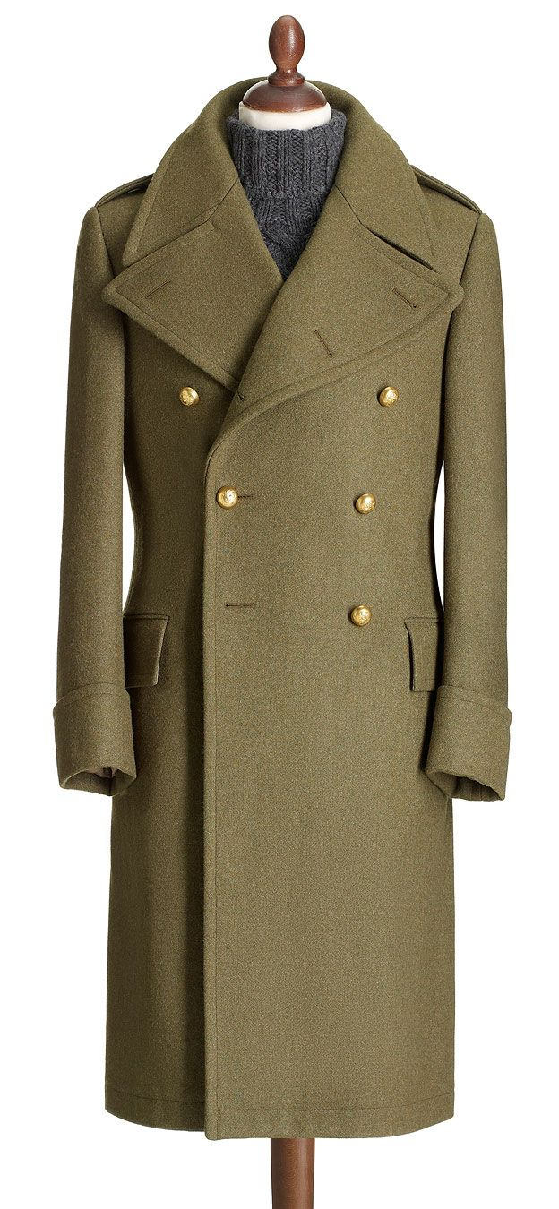 This is an authentic recreation of a World War II military coat discovered in the Crombie archive, a coat that was supplied to the War Office for officers of the armed forces. Detailing is exceptional, right down to the handcrafted chalk-filled brass buttons featuring the Crombie crest and the raw wool cloth discovered in a mill in Yorkshire which is faithfully replicated in military hues.