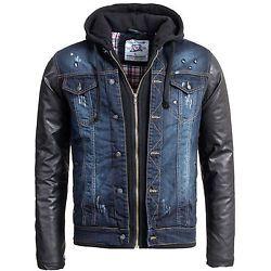 Young & Rich Herren Biker Jeansjacke Kunst Leder Jacke Kapuze blau JK-400