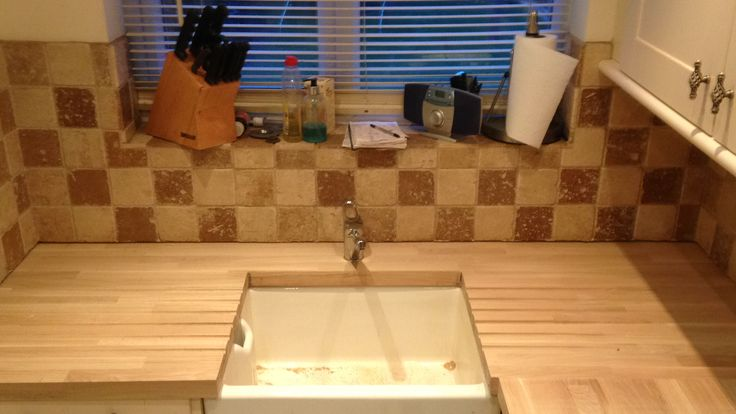 solid oak with belfast sink cut out and drainage grooves #solidoak #belfastsink
