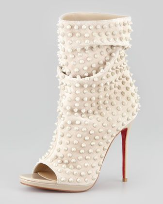 Slouchy Spiked Open-Toe Red-Sole Bootie by Christian Louboutin   (Neiman Marcus)