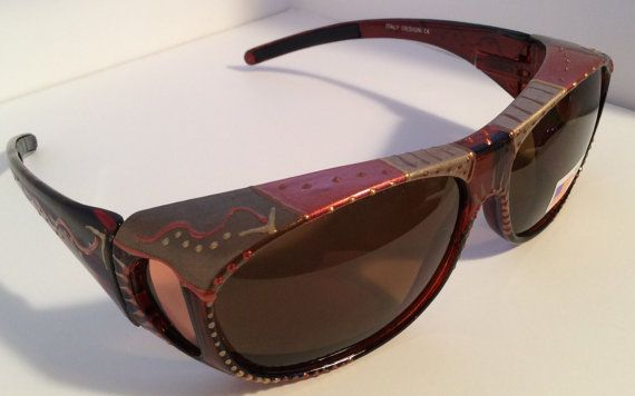 "Hand Painted Fit overs"" ""Beautiful Bronze""  Sunglasses that ""fit over"" your glasses, custom made especially 4 you."