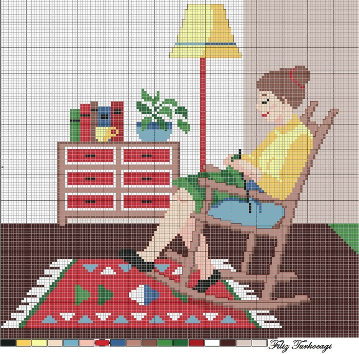 0 point de croix femme moderne tricotant à la maison- cross stitch modern woman knitting at home