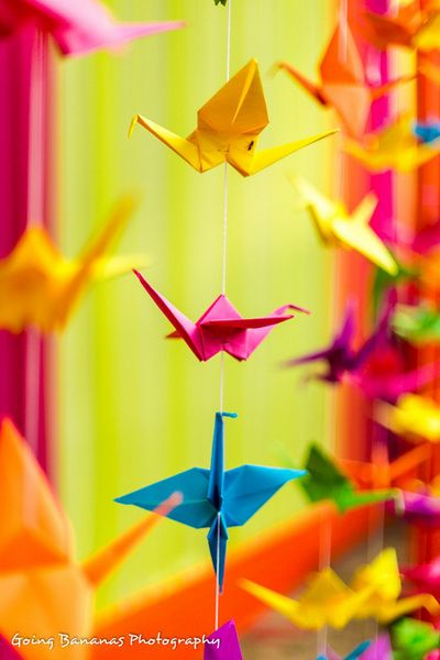DIY paper cranes to hang from the mandap