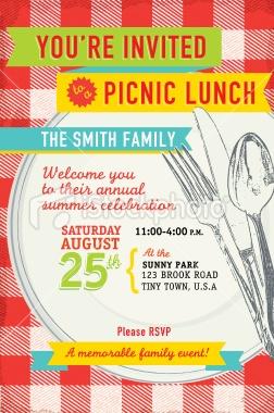 Family picnic lunch invitation design template Royalty Free Stock Vector Art Illustration