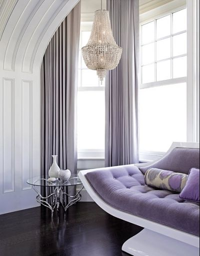 Love The purple upholstery.: Curtains, Idea, Living Rooms, Purple, Soft Colors, Corbett Lights, Interiors Design, Master Bedrooms, Design Home