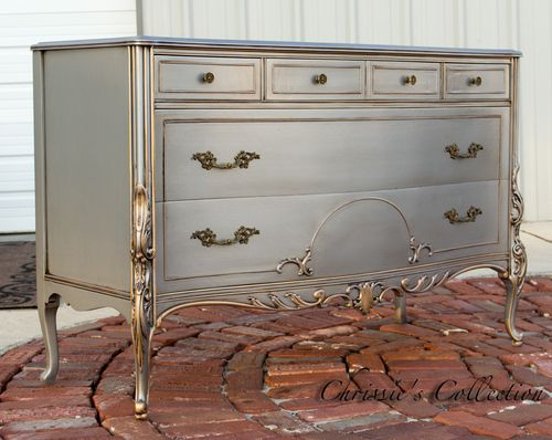 "French dresser painted in our Antiqued Silver finish with gold accents. Measures 52""x22"" and 35""t. $495. On display in our booth at University Pickers in Huntsville."