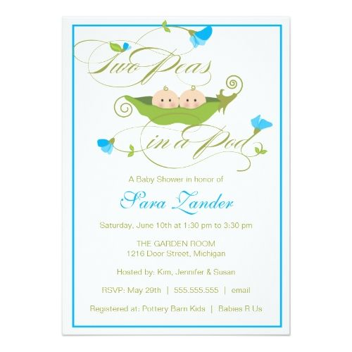 Child Bathe Invitation - Twin Boys Pea in a Pod.  See more by visiting the photo link