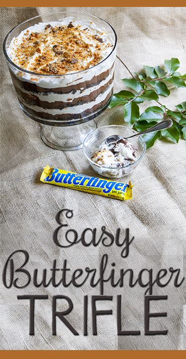Easy, crowd-pleasing triple chocolate Butterfinger Trifle recipe!
