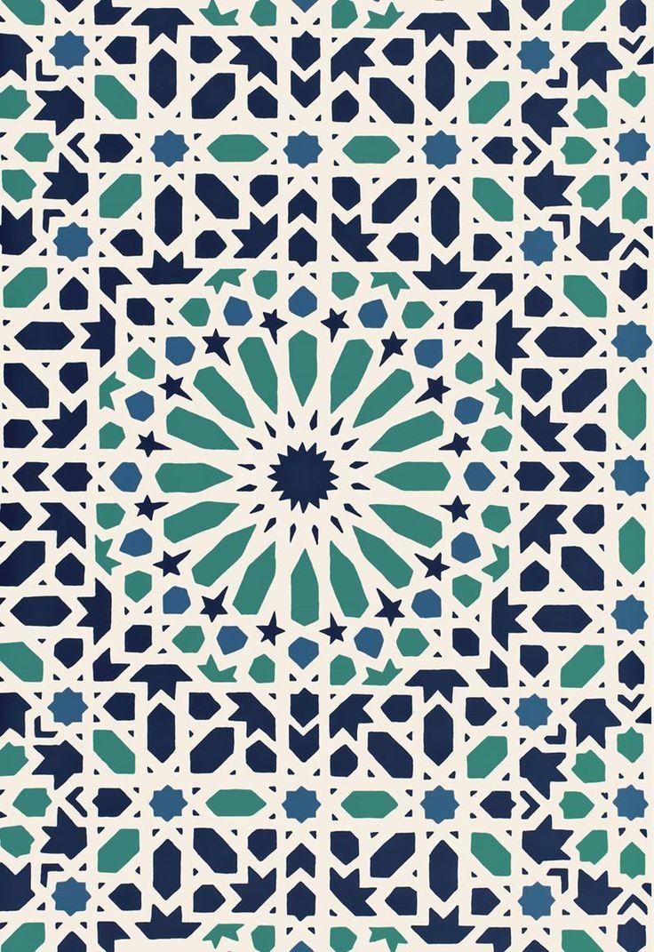 FSchumacher Wallpaper 5005960 Nasrid Palace Mosaic Aegean