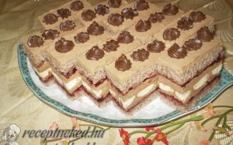 Pompás szelet Eta módra -diós piskóta csokikrém ribizli lekvár -  recept fotóval