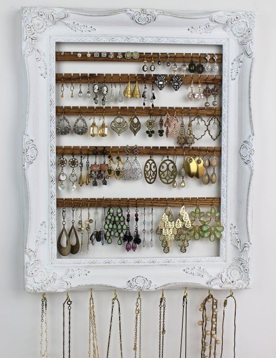 Distressed White Jewelry Organizer Wall Hanging Earring Organization Jewelry H Distress In 2020 Jewelry Organizer Wall Jewelry Storage Diy Diy Jewelry Holder