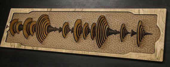 3D laser cut rendering of the Amen Break, a much loved fundamental backbone of numerous styles of electronic music.