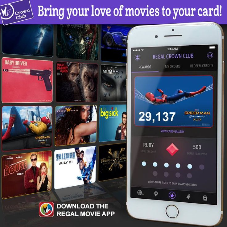 Be sure to download the newest version of the Regal Movies app. Crown Club members can now select from a gallery of movie-themed choices to personalize their in-app virtual card! Update now: http://regmovi.es/2u5qzLh