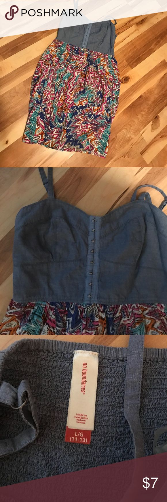 Juniors summer dress Juniors summer dress denim top with multicolor bottom size Large No Boundaries Dresses