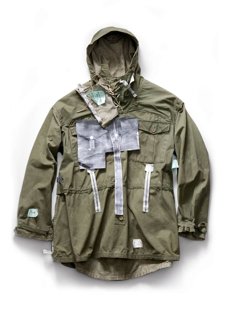 Vintage reversible military parka with photocopied construction details attached by Massimo Osti. From the book Ideas from Massimo Osti. #parka #vintage #military