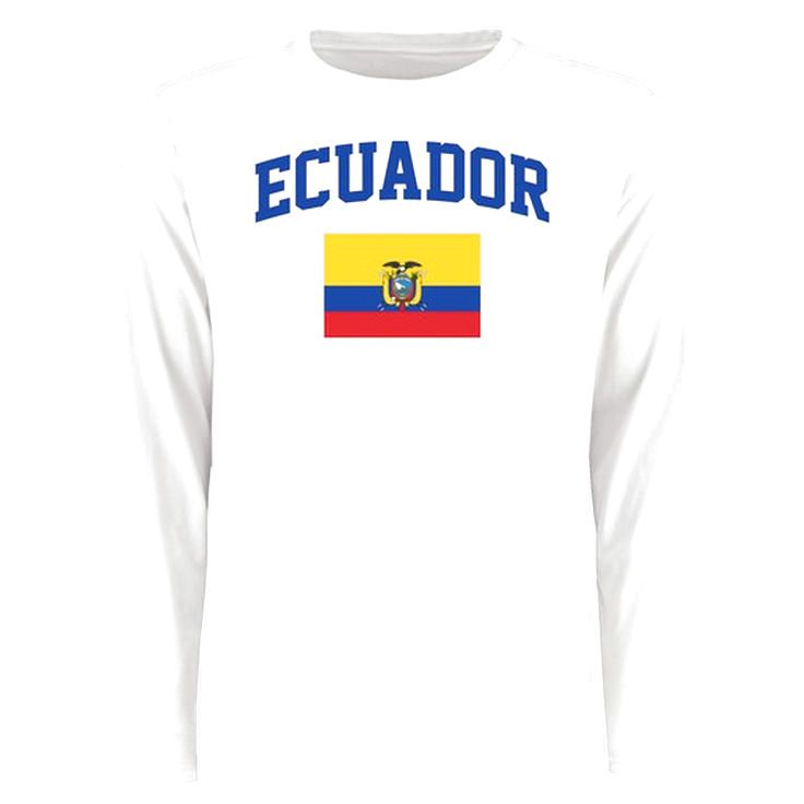 Ecuador Flag Long Sleeve T-Shirt - White - $27.99