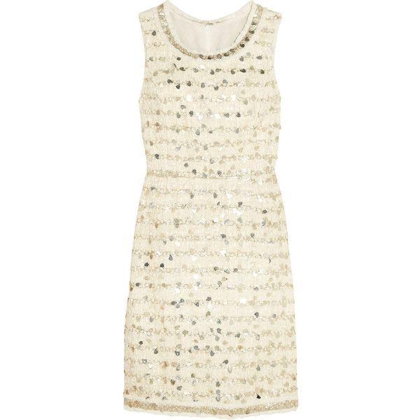 Oscar de la Renta Embellished cotton-blend tweed dress ($1,361) ❤ liked on Polyvore featuring dresses, white flounce dress, frilly dress, white frilly dress, sequin embellished dress and ruffle dress