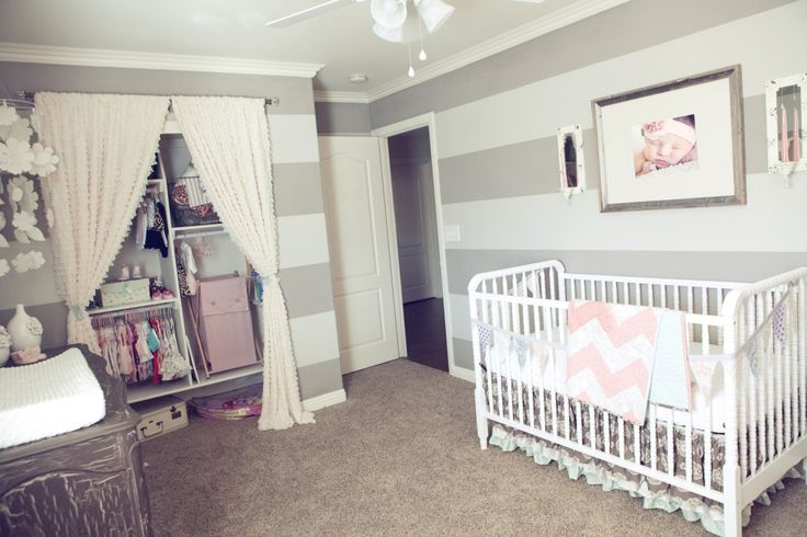 Adore the frilly details of this #babygirl #nursery - especially the ruffled curtains to the closet!: Nurseries Closet, Closet Doors, Stripes Wall, Wall Stripes, Closet Curtains, Baby Girls, Baby Rooms, Closet Ideas, Gray Stripes