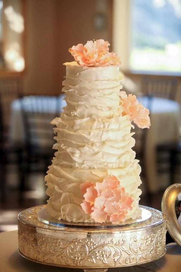 Romantic ruffled wedding cake {Photo by Pepper Nix Photography via Project Wedding}