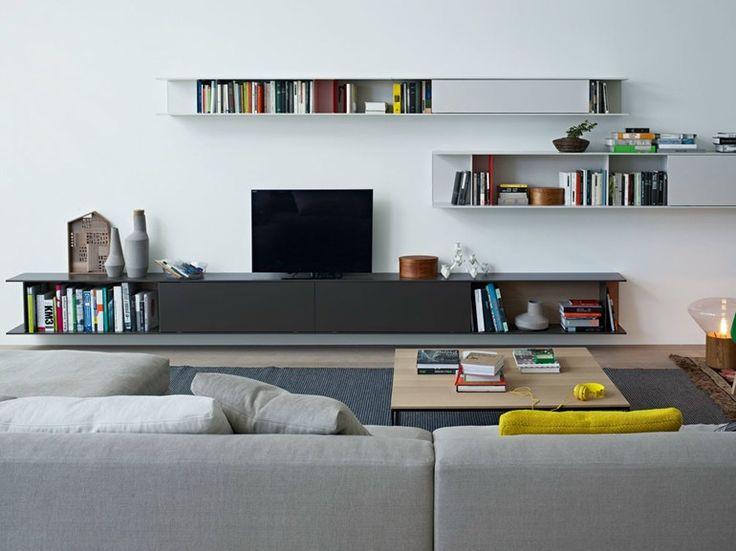 Modular oak TV wall system SKIP by Poliform   design Studio Kairos