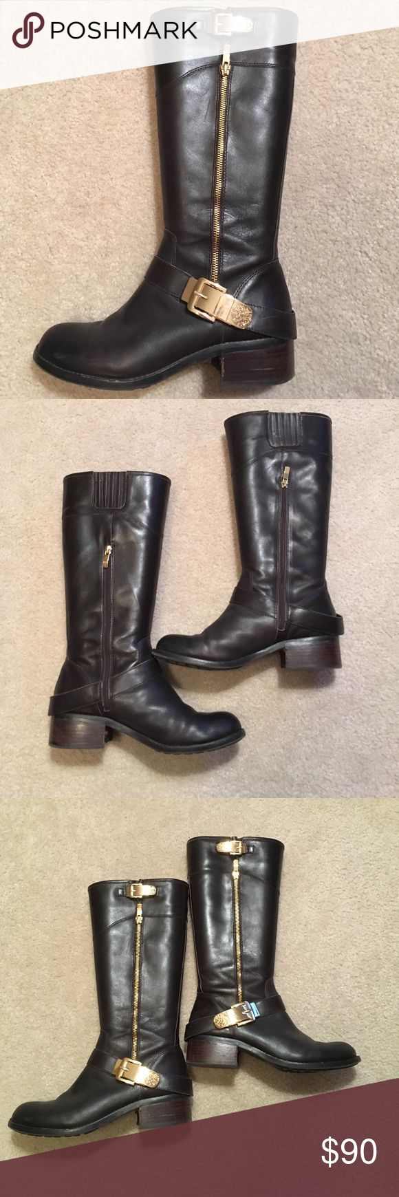 Vince Camuto Brown Leather Riding Boots Chic dark brown leather riding boots with gold buckles and zipper down side. Side zipper on inside of boot with elastic around calf. Size 9. Vince Camuto Shoes Heeled Boots