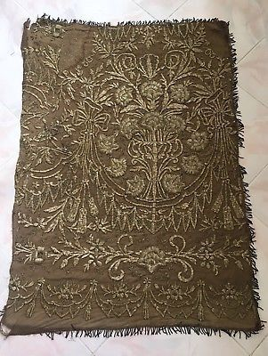 ANTIQUE OTTOMAN-TURKISH SILVER METALLIC HAND EMBROIDERED PANEL 110cm