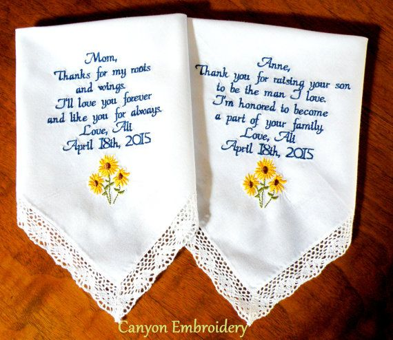 Sunflower Wedding Theme Embroidered Handkerchief Gifts Mom Mother In Law Gift For Canyon Embroidery