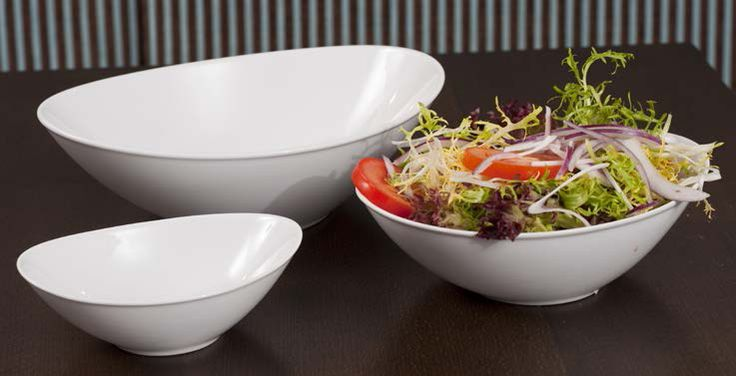 Crispy Side Salads are served perfectly in these Royal Porcelain Titan Oval Salad Bowls