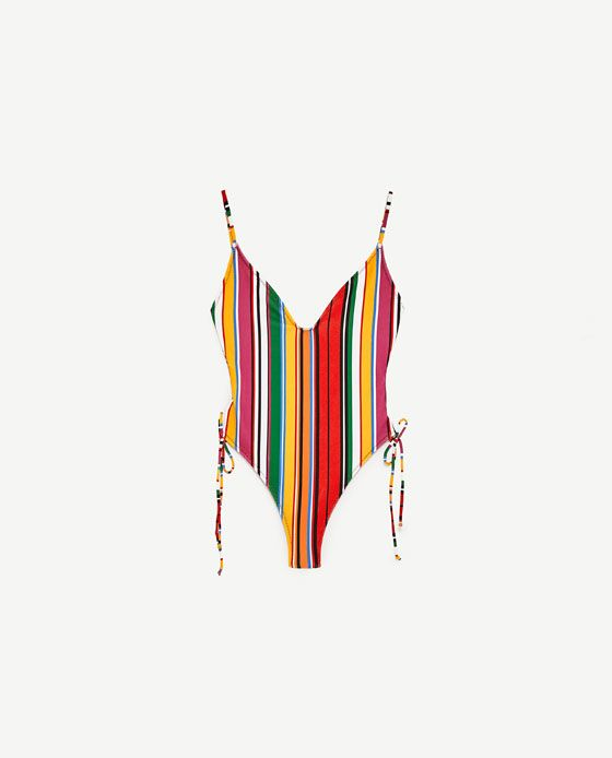 Image 4 of STRIPED SWIMSUIT WITH SIDE KNOTS from Zara