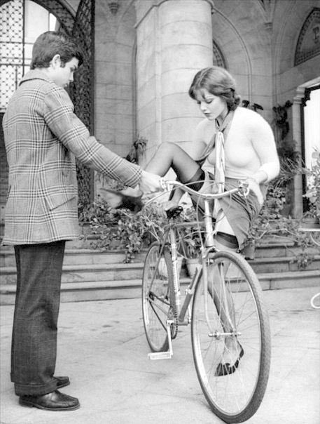 Always be a gentleman and help a lovely lady with her bike...