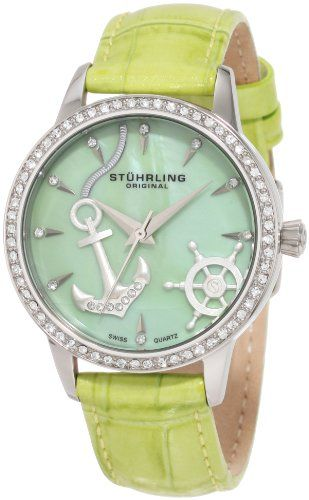 Stuhrling: The Mars, Swiss Quartz, Stuhrl Originals, Green Watches, Verona Del, Originals Woman, Swarovski Crystals, Nautical Theme, Nautical Watches