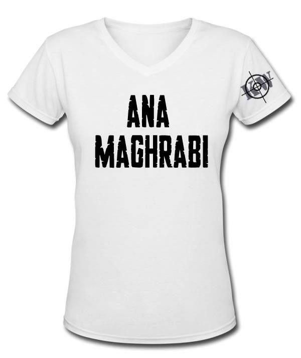 Vrouwen T-Shirt met opdruk 'Ana Maghrabi'. Het T-Shirt is alleen verkrijgbaar in de kleur wit en de maten S, M, L, XL en XXL. €24,95 Incl. BTW