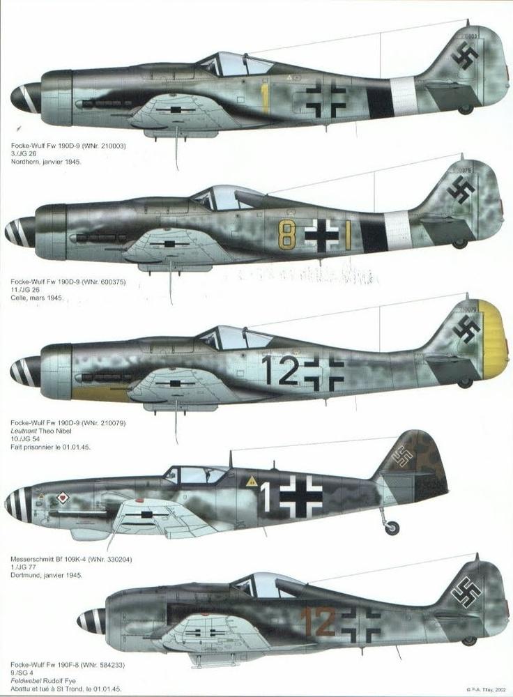 Focke Wulf Fw 190A's & FW190D's, Messerschmitt Me 109G, Luftwaffe