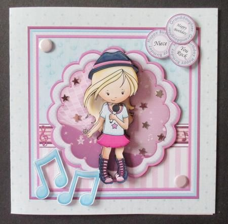 YOU ROCK GIRL 8x8 Singing Girl Mini Kit Decoupage on Craftsuprint designed by Janet Briggs - made by Davina Rundle
