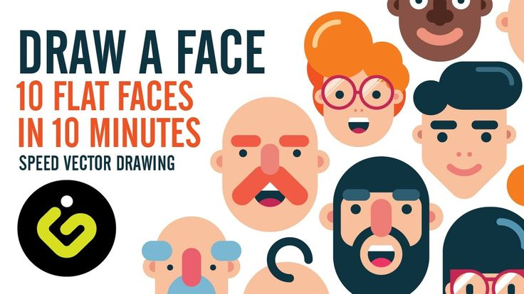 How To Draw A Face, 10 Flat Design Characters in 10 Minutes, Speed Drawi...