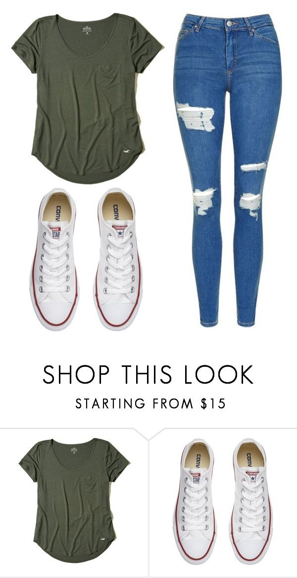 """Untitled #525"" by cuteskyiscute ❤ liked on Polyvore featuring Hollister Co., Converse and Topshop"