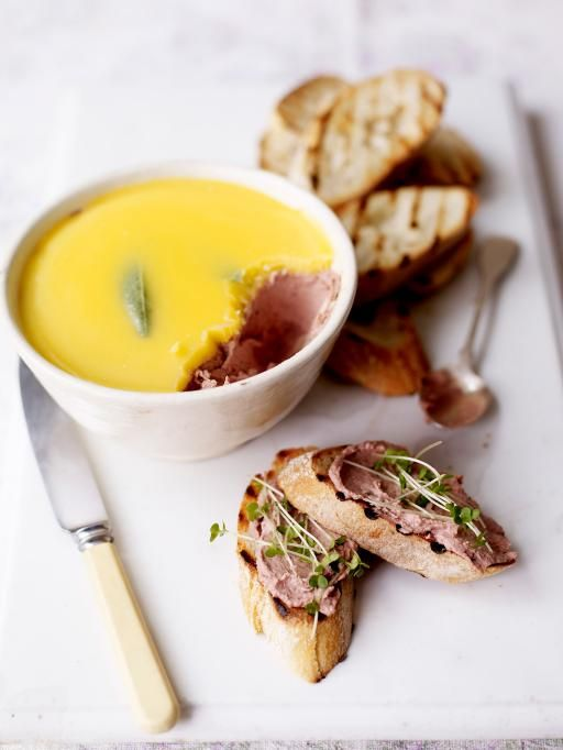 France - Old-school chicken liver parfait, with a sage and clarified butter topping