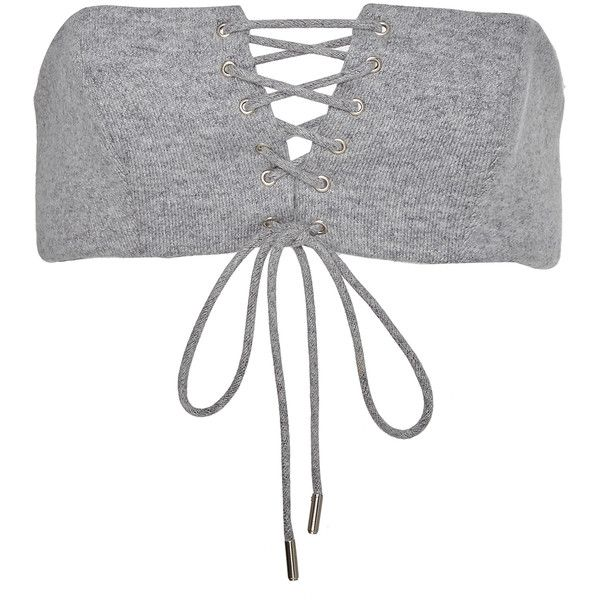Sally LaPointe     Cashmere Wool Sweatshirt Bustier ($780) ❤ liked on Polyvore featuring tops, sally lapointe, grey, strapless bustier top, gray top, bandeau tops and lace up top