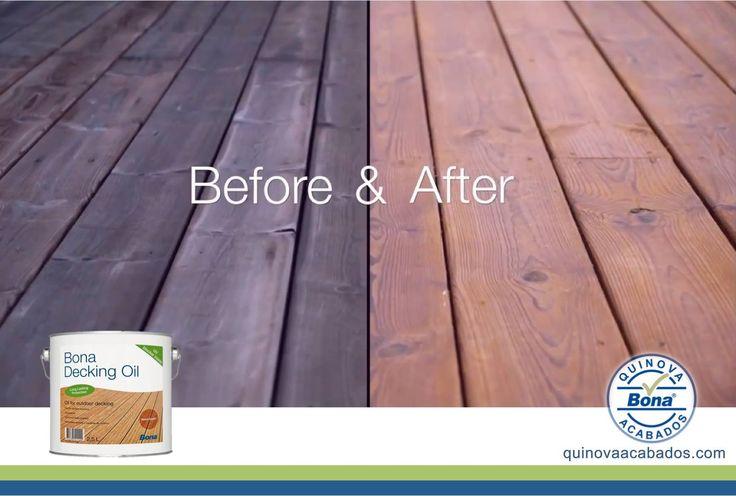 Bona Decking Oil: La nueva formula, con un bajo contenido en solventes, posee una mayor propiedades de protección. Sus pisos de madera experimentarán un menor agrietamiento, una mayor protección contra el blanqueamiento que produce los rayos UV evitando la penetración del agua en sus pisos de exterior