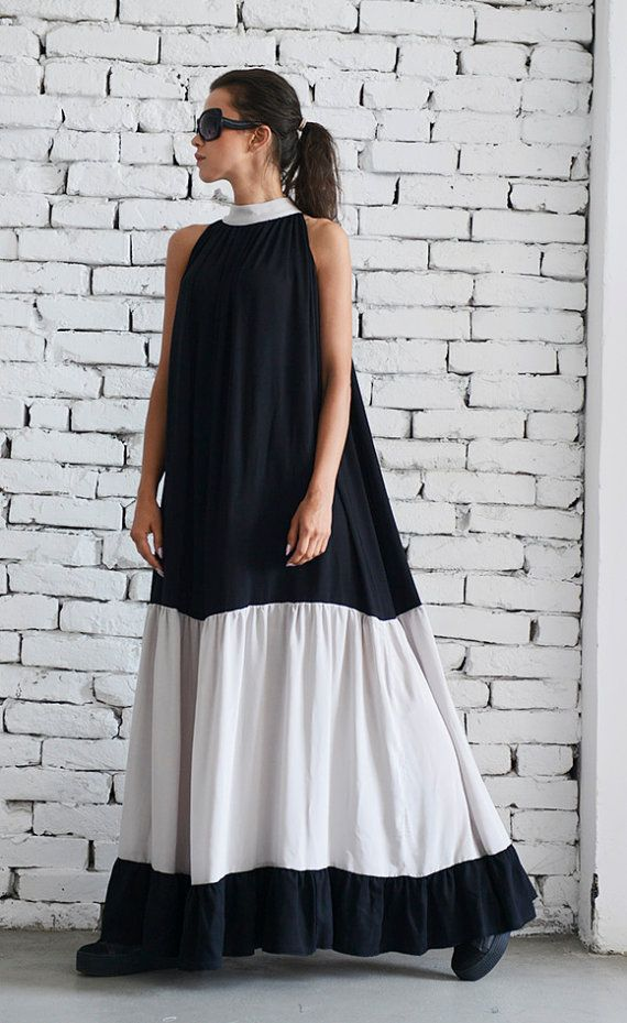 Extravagant black and beige maxi dress - METD0049 Gorgeous new design that is very interesting and modern. I have created this dress with…