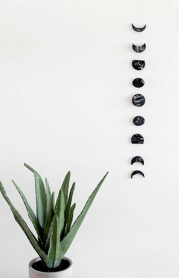DIY Room Decor Ideas in Black and White - DIY Marble Moon Phase Wall Hanging - Creative Home Decor and Room Accessories - Cheap and Easy Projects and Crafts for Wall Art, Bedding, Pillows, Rugs and Lighting - Fun Ideas and Projects for Teens, Apartments, Adutls and Teenagers http://diyprojectsforteens.com/diy-decor-black-white